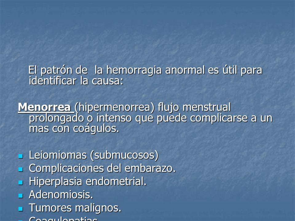 El patrón de la hemorragia anormal es útil para identificar la causa: