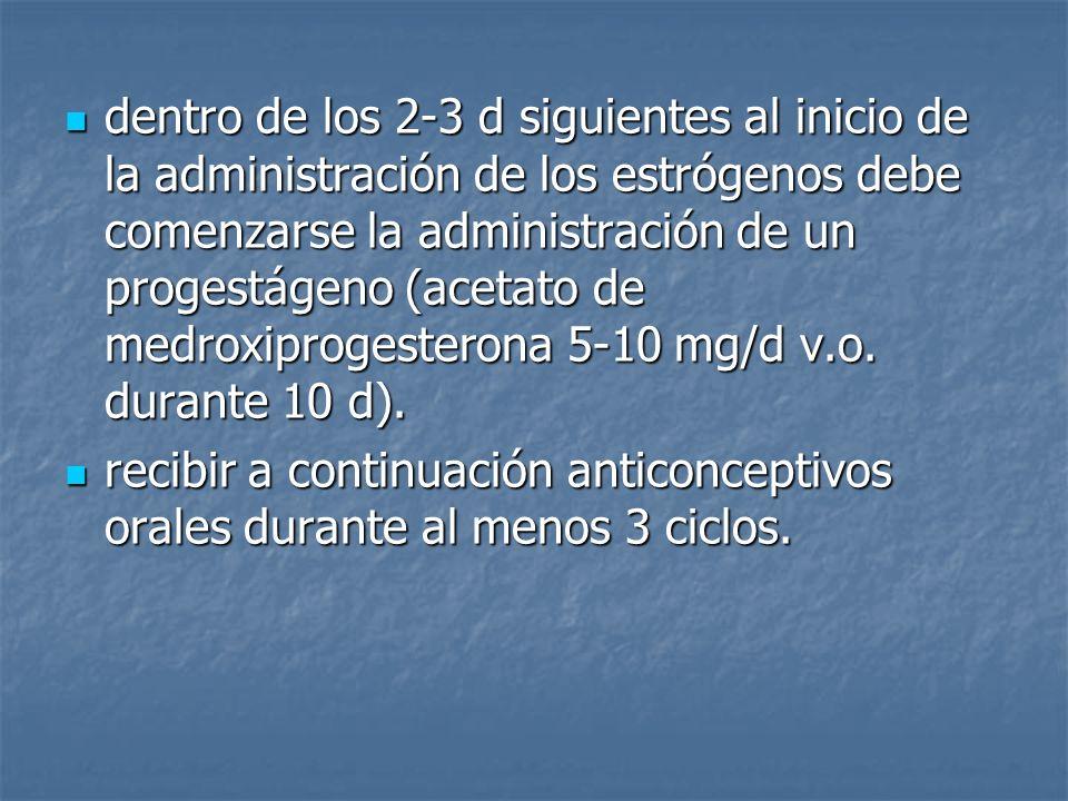 dentro de los 2-3 d siguientes al inicio de la administración de los estrógenos debe comenzarse la administración de un progestágeno (acetato de medroxiprogesterona 5-10 mg/d v.o. durante 10 d).