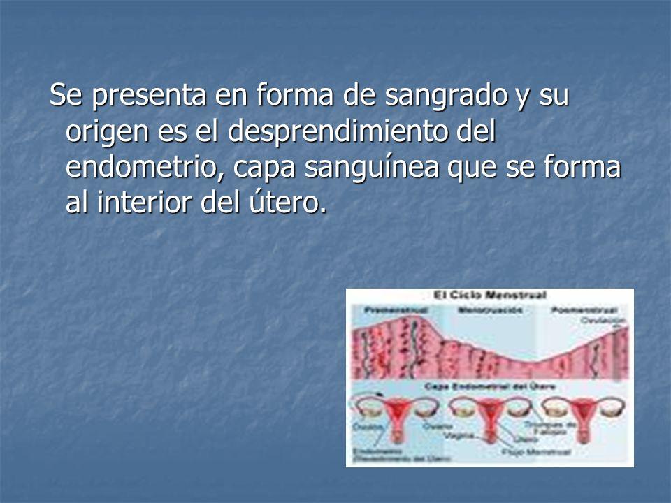 Se presenta en forma de sangrado y su origen es el desprendimiento del endometrio, capa sanguínea que se forma al interior del útero.