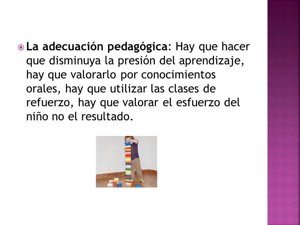 La adecuación pedagógica: Hay que hacer que disminuya la presión del aprendizaje, hay que valorarlo por conocimientos orales, hay que utilizar las clases de refuerzo, hay que valorar el esfuerzo del niño no el resultado.