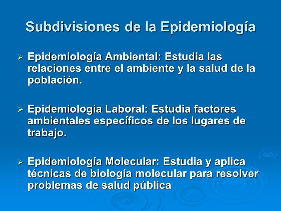 Subdivisiones de la Epidemiología
