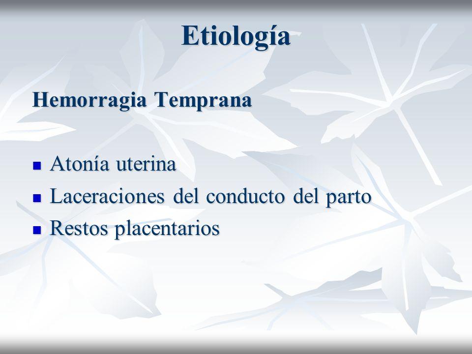 Etiología Hemorragia Temprana Atonía uterina