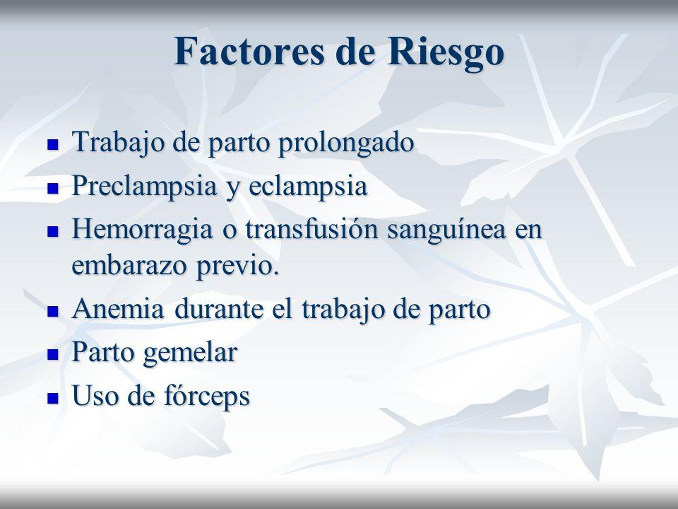 Factores de Riesgo Trabajo de parto prolongado Preclampsia y eclampsia