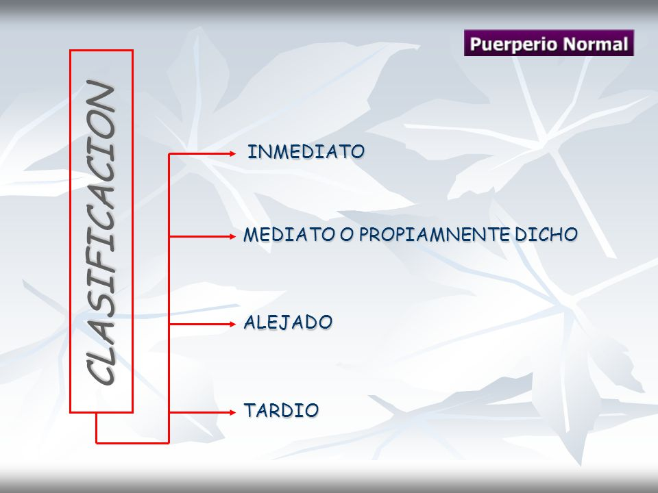 INMEDIATO CLASIFICACION MEDIATO O PROPIAMNENTE DICHO ALEJADO TARDIO