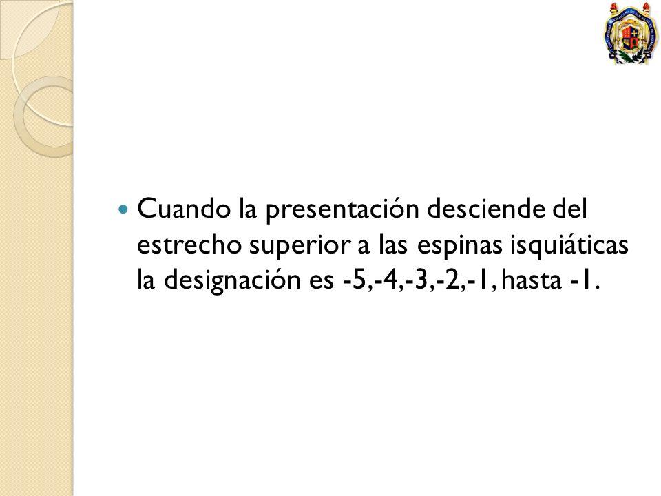 Cuando la presentación desciende del estrecho superior a las espinas isquiáticas la designación es -5,-4,-3,-2,-1, hasta -1.