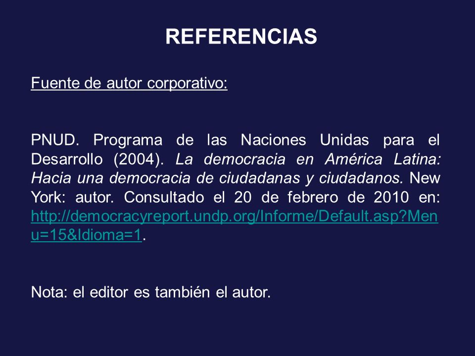 REFERENCIAS Fuente de autor corporativo: