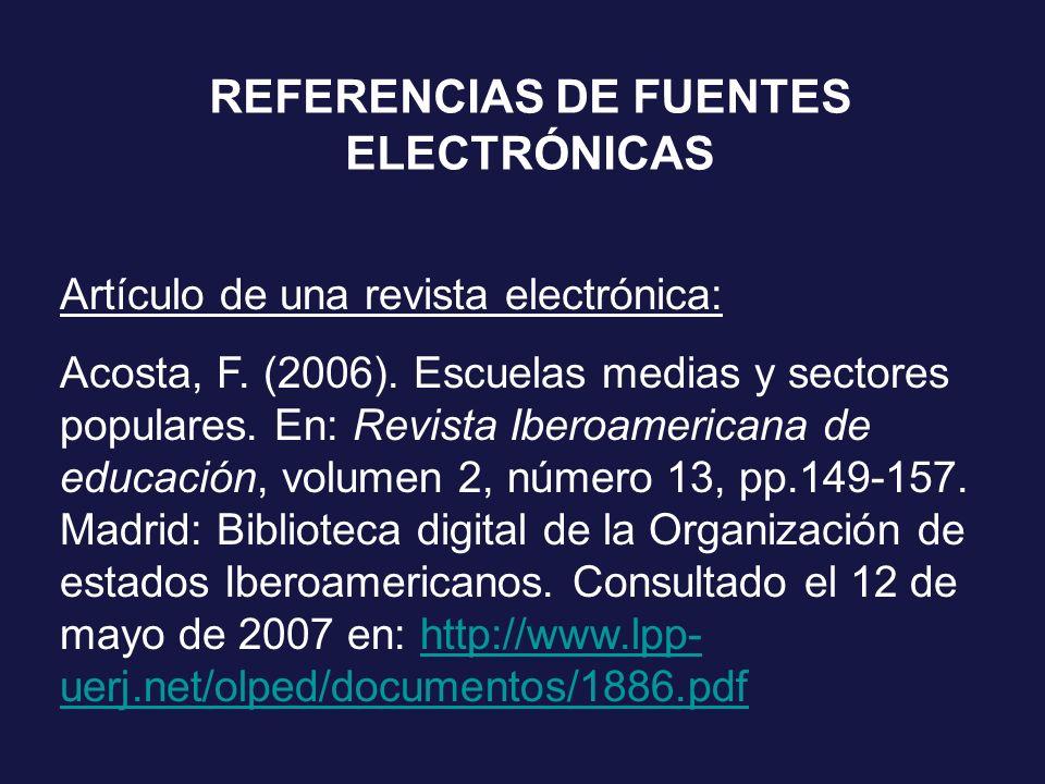 REFERENCIAS DE FUENTES ELECTRÓNICAS