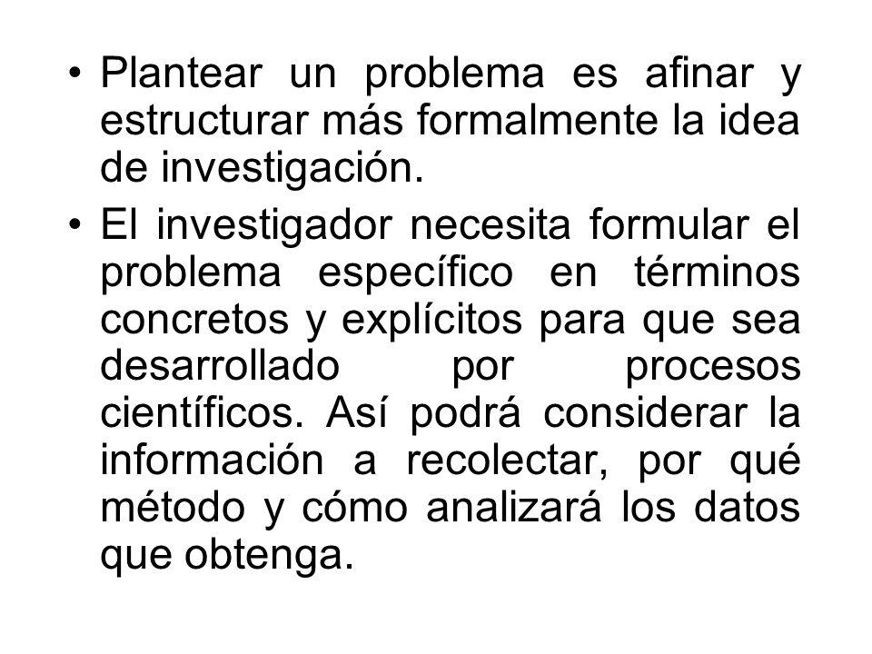 Plantear un problema es afinar y estructurar más formalmente la idea de investigación.