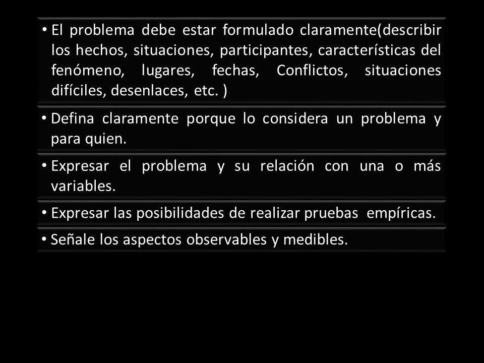 El problema debe estar formulado claramente(describir los hechos, situaciones, participantes, características del fenómeno, lugares, fechas, Conflictos, situaciones difíciles, desenlaces, etc. )