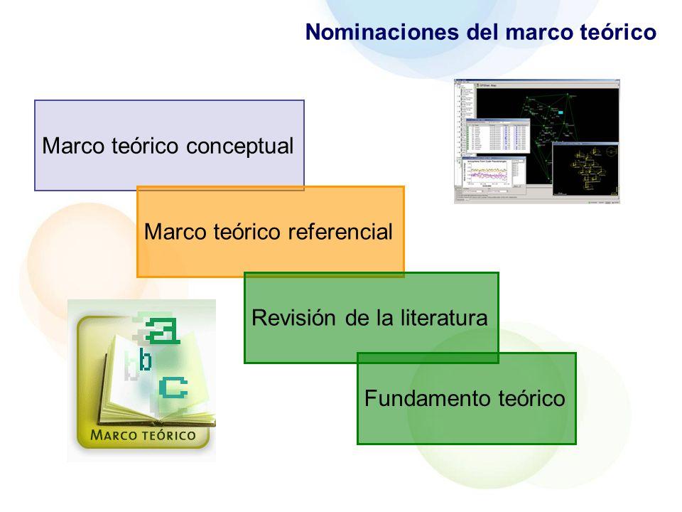 Nominaciones del marco teórico
