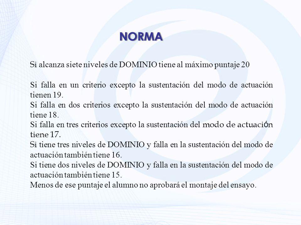 NORMA Si alcanza siete niveles de DOMINIO tiene al máximo puntaje 20
