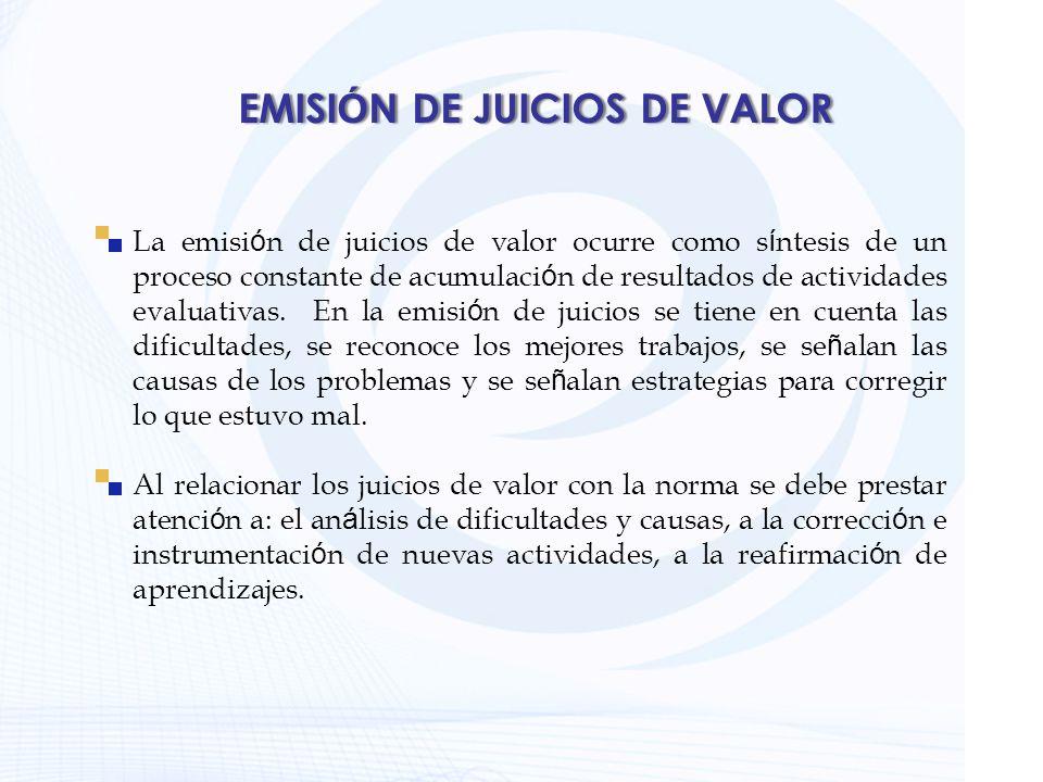 EMISIÓN DE JUICIOS DE VALOR