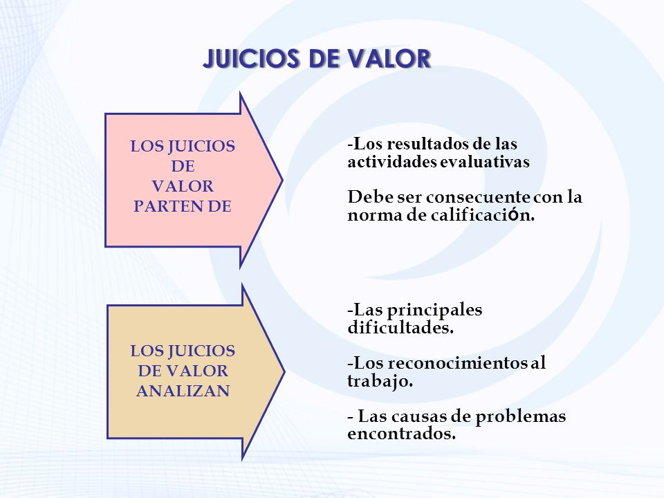 LOS JUICIOS DE VALOR ANALIZAN