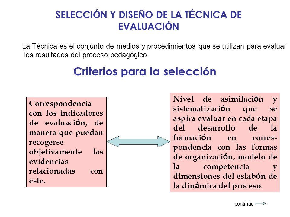 Criterios para la selección