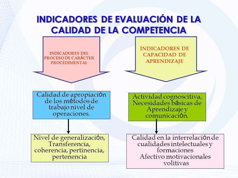INDICADORES DE EVALUACIÓN DE LA CALIDAD DE LA COMPETENCIA