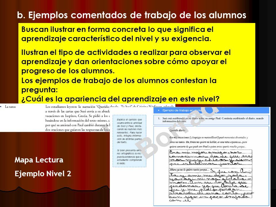 b. Ejemplos comentados de trabajo de los alumnos