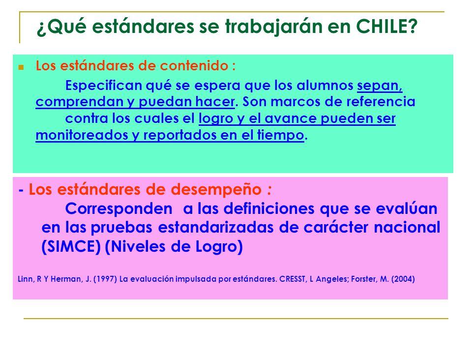 ¿Qué estándares se trabajarán en CHILE