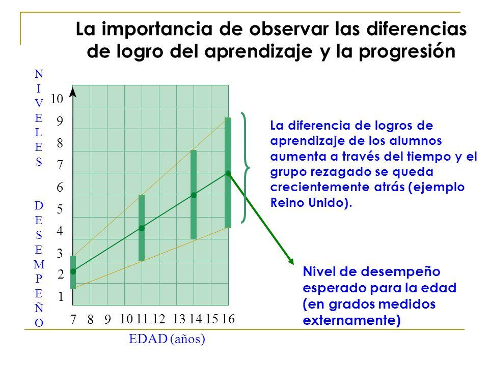 La importancia de observar las diferencias de logro del aprendizaje y la progresión