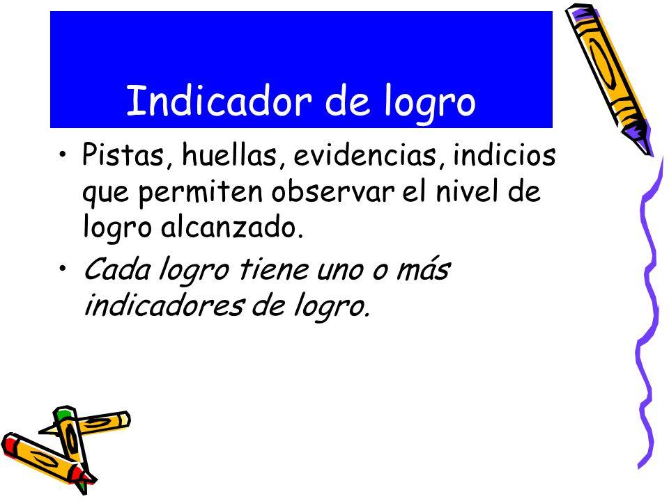 Indicador de logro Pistas, huellas, evidencias, indicios que permiten observar el nivel de logro alcanzado.