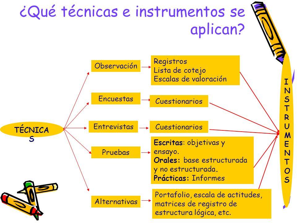 ¿Qué técnicas e instrumentos se aplican