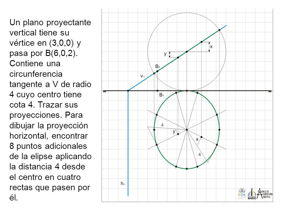 Un plano proyectante vertical tiene su vértice en (3,0,0) y pasa por B(6,0,2).