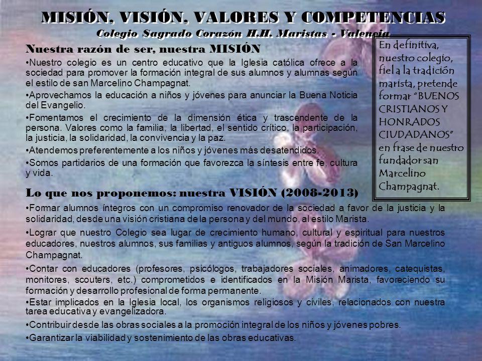 MISIÓN, VISIÓN, VALORES Y COMPETENCIAS Colegio Sagrado Corazón H. H