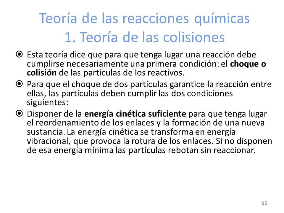 Teoría de las reacciones químicas 1. Teoría de las colisiones