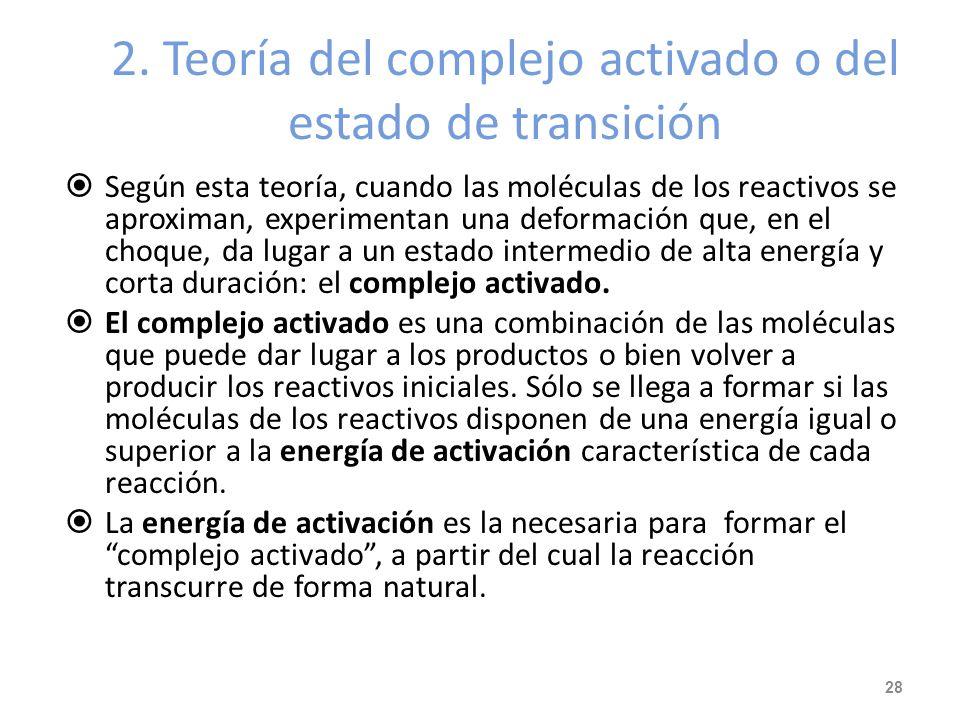 2. Teoría del complejo activado o del estado de transición