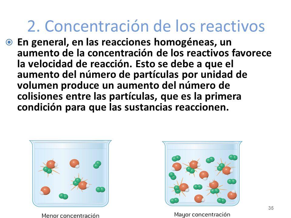 2. Concentración de los reactivos