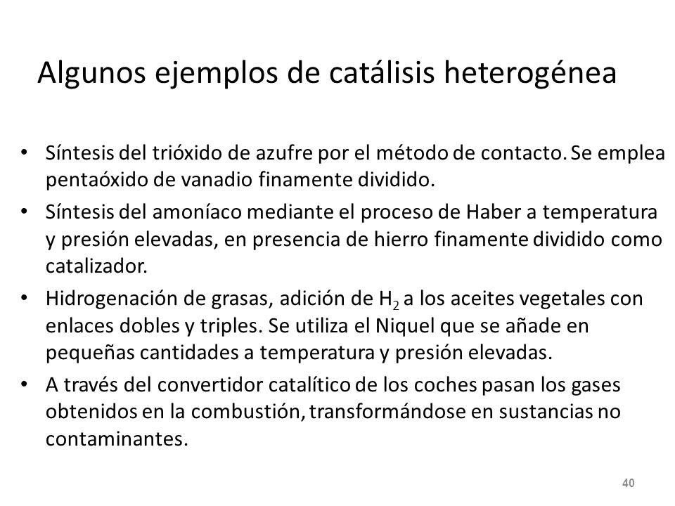 Algunos ejemplos de catálisis heterogénea