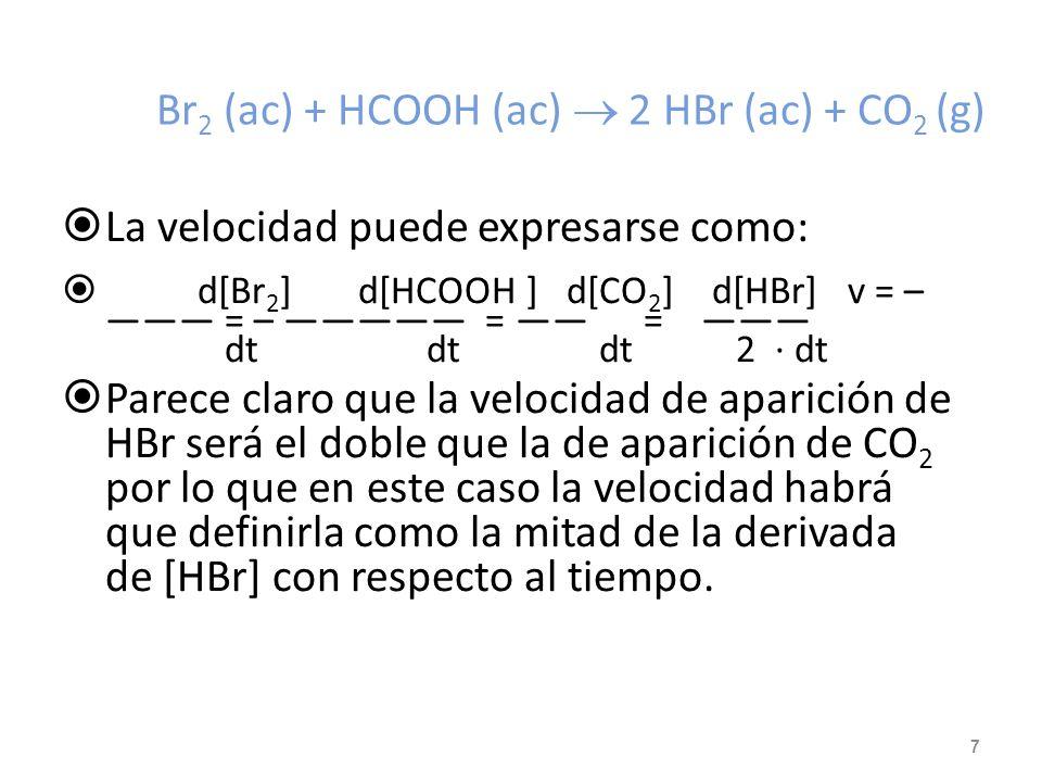 Br2 (ac) + HCOOH (ac)  2 HBr (ac) + CO2 (g)