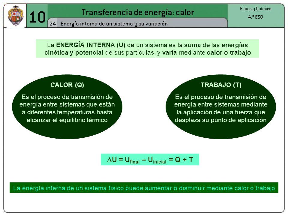 U = Ufinal – Uinicial = Q + T