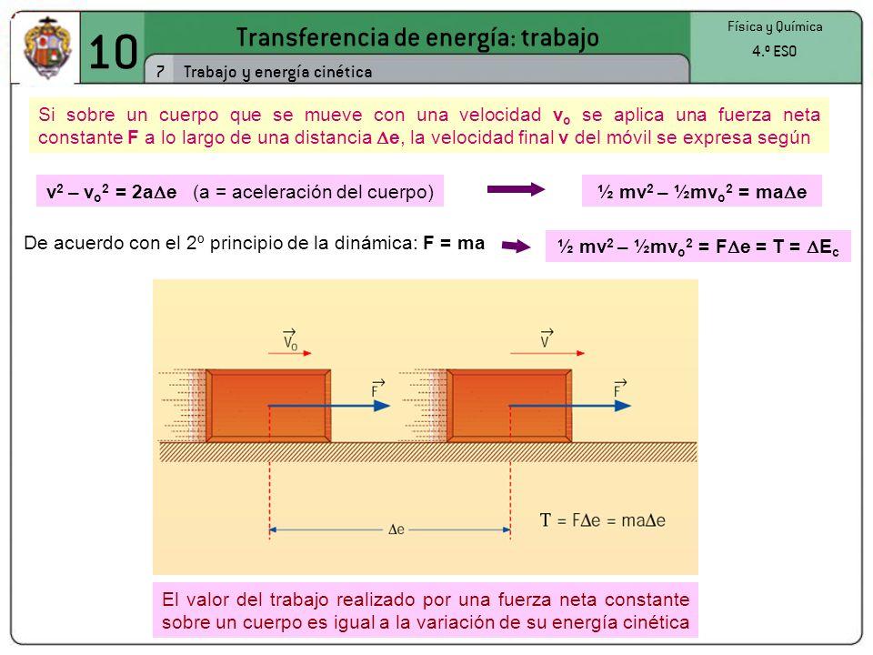 10 Transferencia de energía: trabajo 7 Trabajo y energía cinética