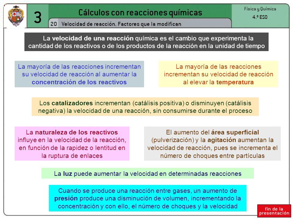 3 Cálculos con reacciones químicas 20
