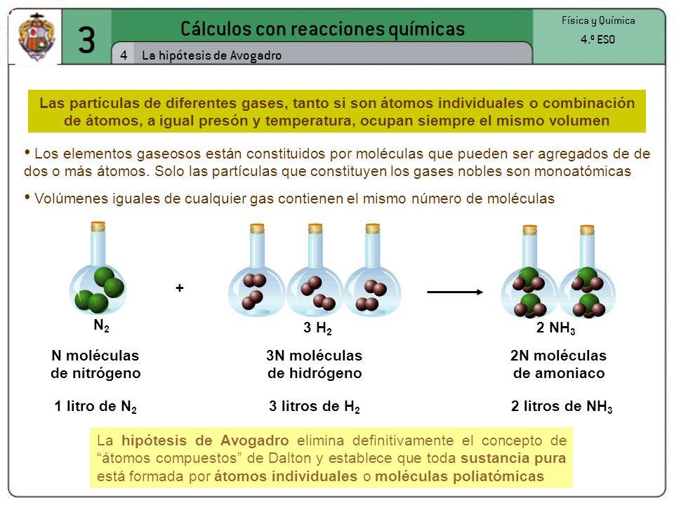 3 Cálculos con reacciones químicas 4 La hipótesis de Avogadro