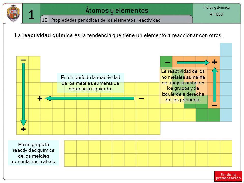 En un grupo la reactividad química de los metales aumenta hacia abajo.