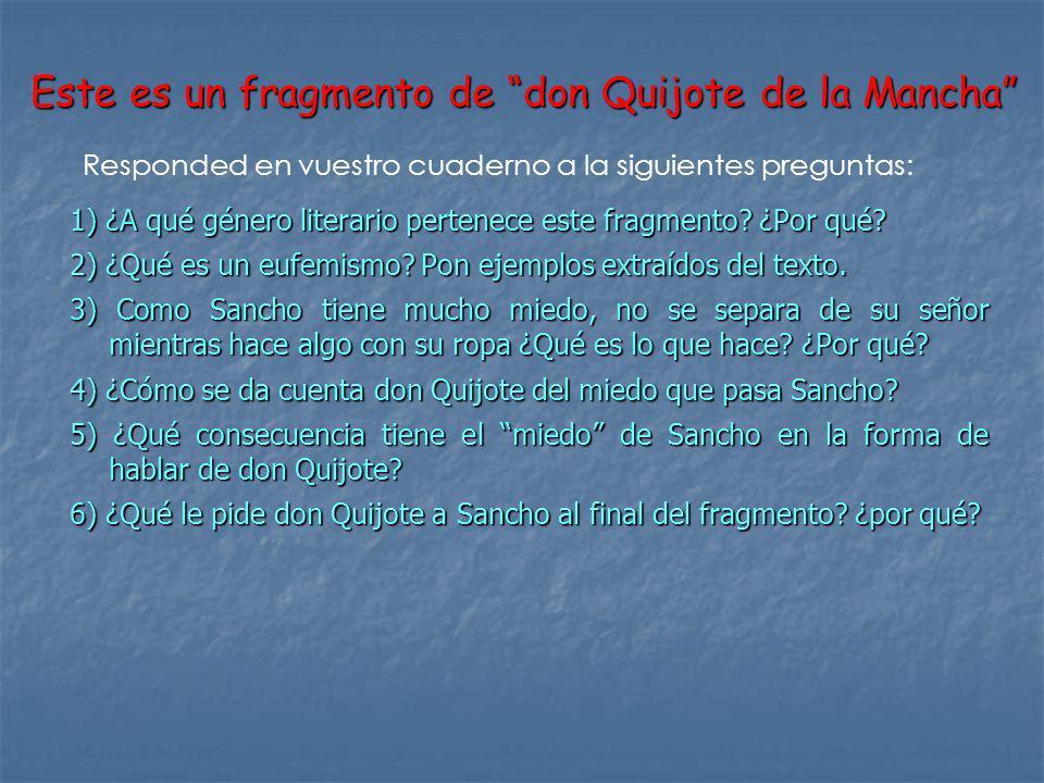 Este es un fragmento de don Quijote de la Mancha