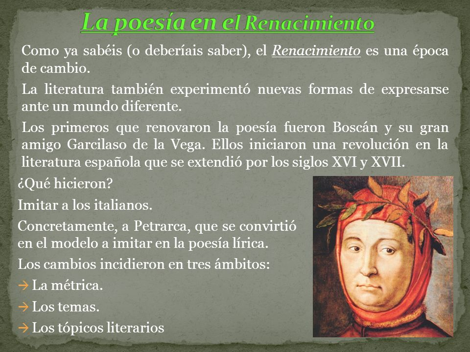 La poesía en el Renacimiento