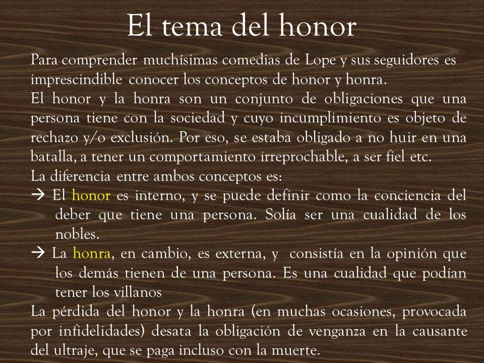 El tema del honor Para comprender muchísimas comedias de Lope y sus seguidores es imprescindible conocer los conceptos de honor y honra.