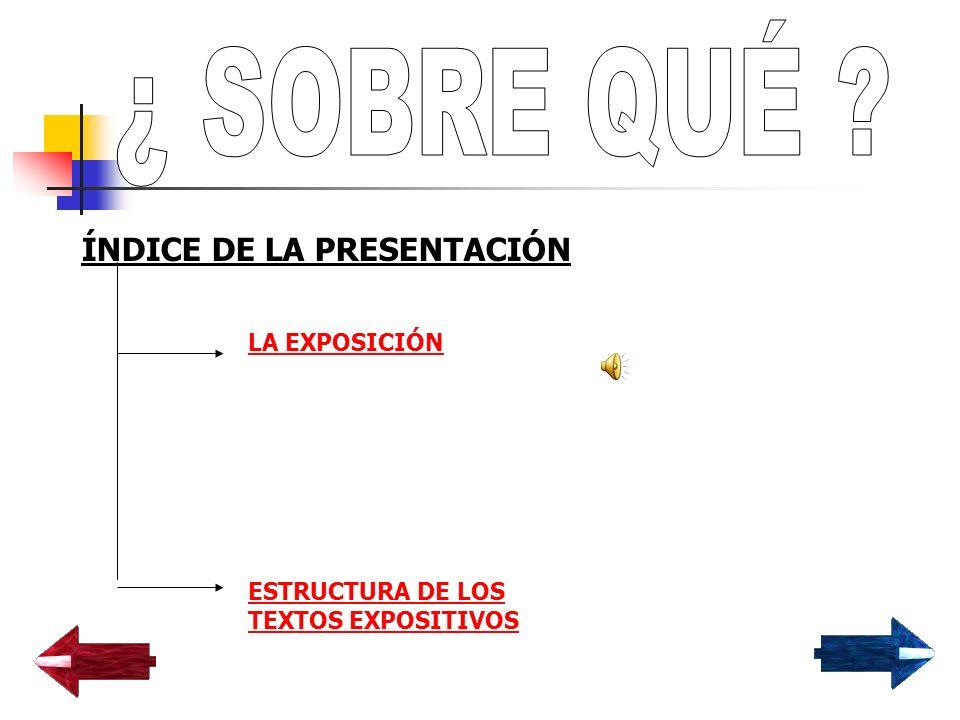 ¿ SOBRE QUÉ ÍNDICE DE LA PRESENTACIÓN LA EXPOSICIÓN