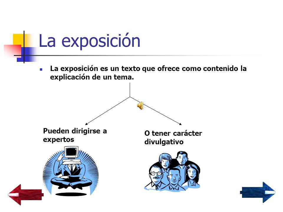 La exposición La exposición es un texto que ofrece como contenido la explicación de un tema. Pueden dirigirse a expertos.