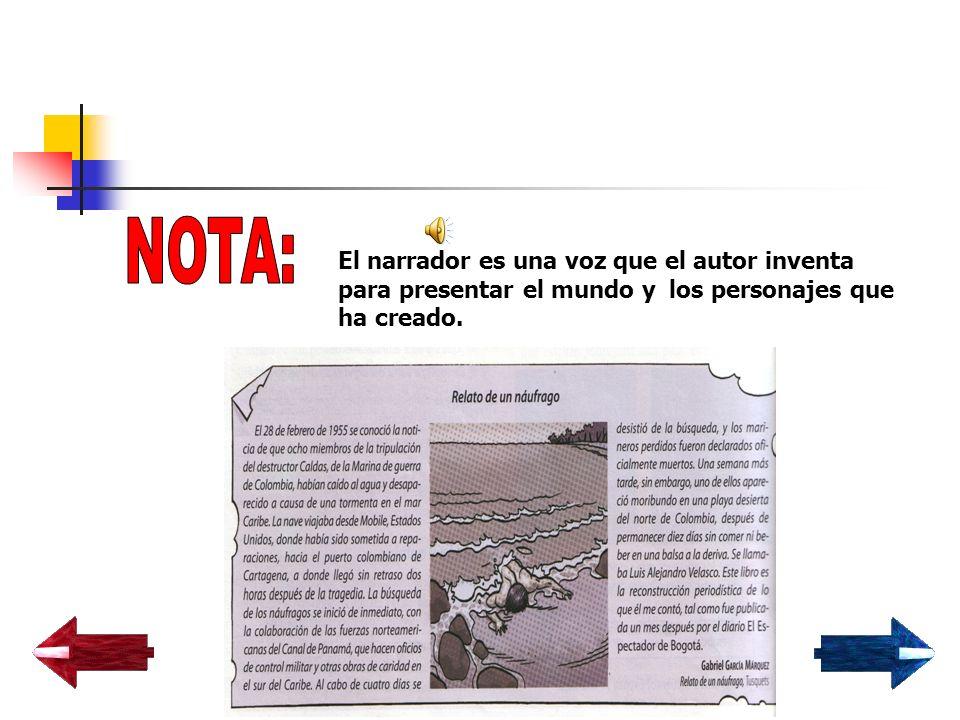 NOTA: El narrador es una voz que el autor inventa para presentar el mundo y los personajes que ha creado.