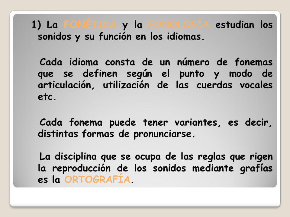 1) La FONÉTICA y la FONOLOGÍA estudian los sonidos y su función en los idiomas.