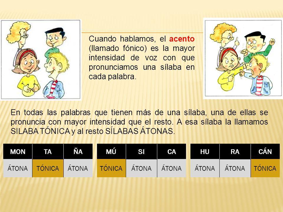 Cuando hablamos, el acento (llamado fónico) es la mayor intensidad de voz con que pronunciamos una sílaba en cada palabra.
