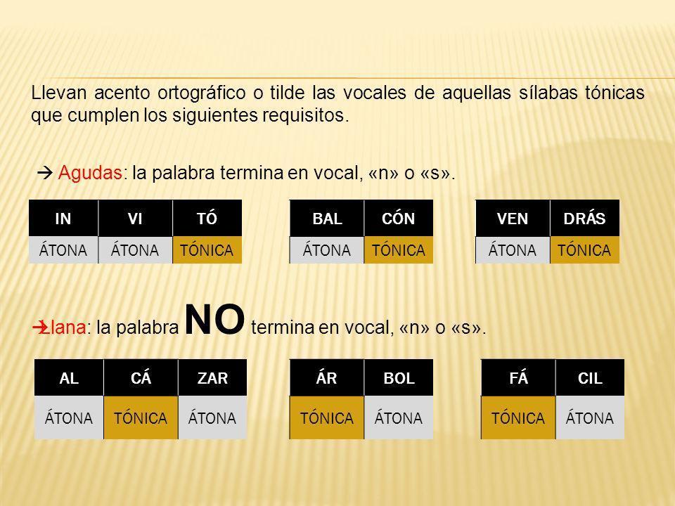  Agudas: la palabra termina en vocal, «n» o «s».