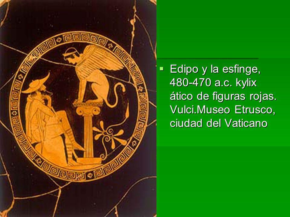 Edipo y la esfinge, 480-470 a. c. kylix ático de figuras rojas. Vulci