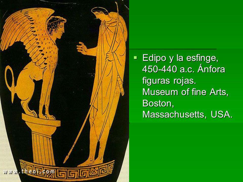 Edipo y la esfinge, 450-440 a. c. Ánfora figuras rojas