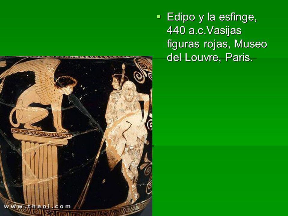 Edipo y la esfinge, 440 a.c.Vasijas figuras rojas, Museo del Louvre, Paris.