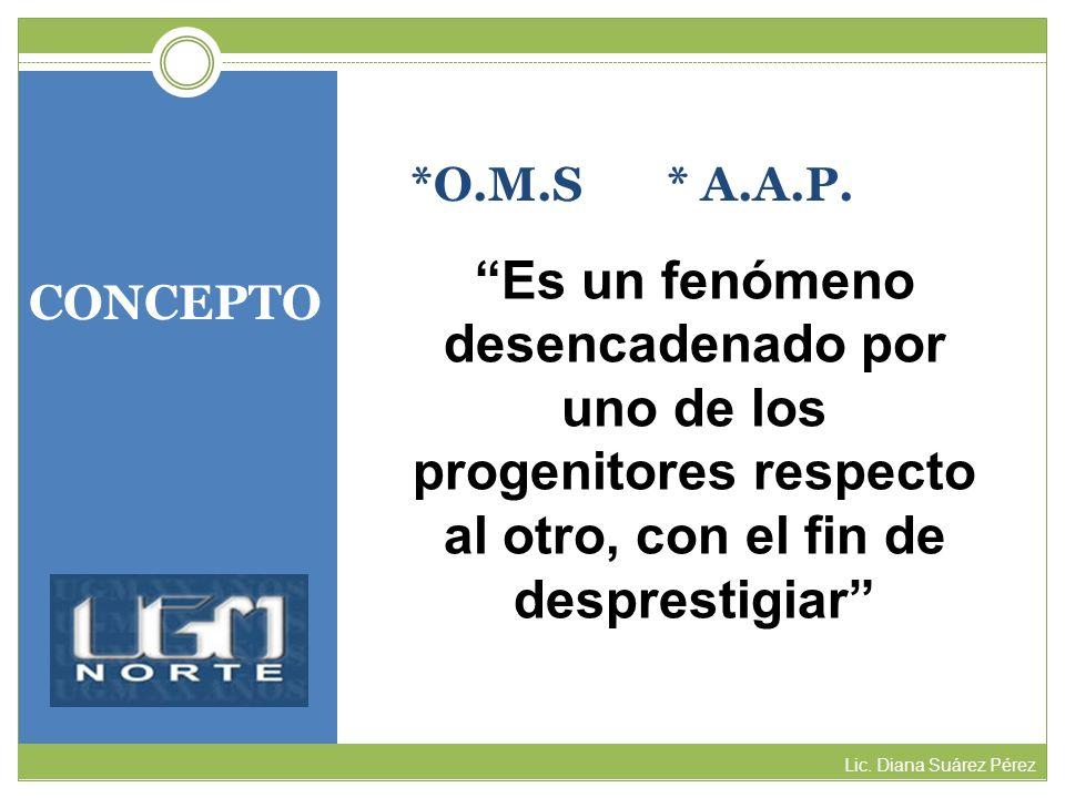 *O.M.S * A.A.P. Es un fenómeno desencadenado por uno de los progenitores respecto al otro, con el fin de desprestigiar