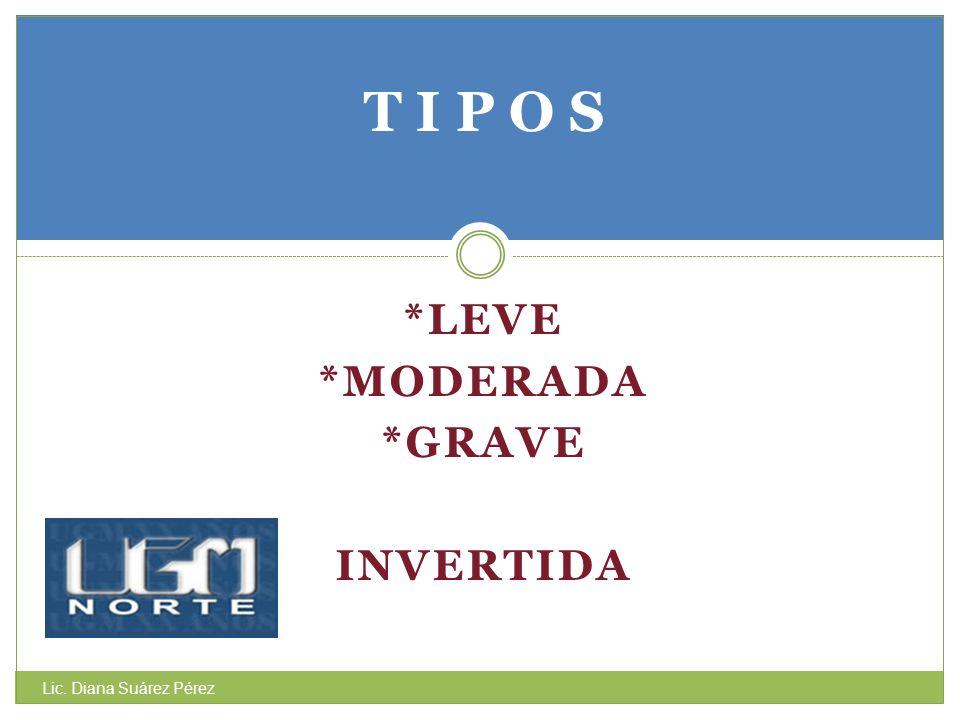 T I P O S *LEVE *MODERADA *GRAVE INVERTIDA Lic. Diana Suárez Pérez